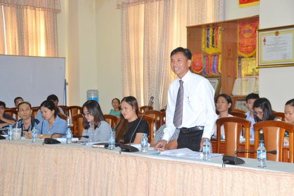 Ông Nguyễn Ngọc Tuấn, Phó chủ tịch Hội Xuất nhập khẩu Đồng Nai góp ý tại hội thảo.